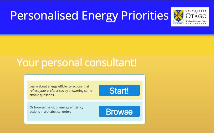 Personalised Energy Priorities